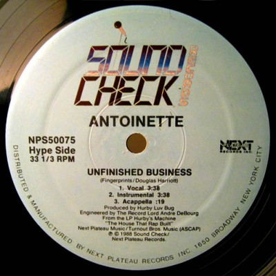 Antoinette ‎- Unfinished Business / Hit 'Em With This (1988)